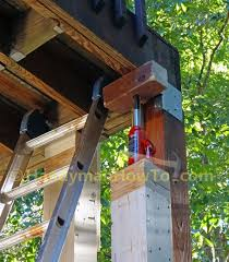 how to install a 6x6 wood deck post by jack up the deck install a