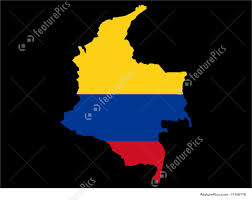 Map Of Colombia Map Of Columbia And Columbian Flag Illustration