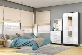 White High Gloss Bedroom Furniture by Birlea Lynx 3 Door Wardrobe With Mirror High Gloss Black And