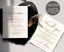 Wedding Itinerary Template For Guests Wedding Thanks U0026 Itinerary Gold Template The Stationery Concierge