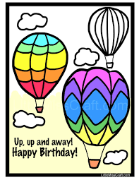 crafts air balloon birthday coloring page