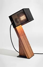 handcrafted oblic wood table lamp id lights