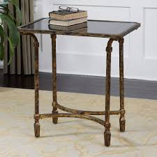uttermost accent tables uttermost zion metal end table with inset black teempered glass