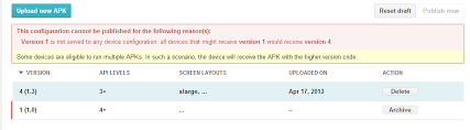 the apk android what does this play apk publish error message