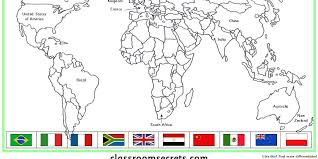matching flags to countries map activity classroom secrets