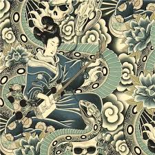 grey henry fabric japanese and skulls asia