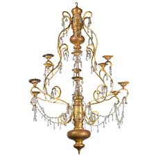 Antique Wood Chandelier Gold Polished Wood And Metal Chandelier With Crystal Pendalogue