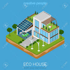 eco friendly house flat 3d isometric green eco friendly house concept electric