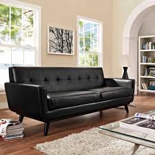 Leather Sofa Bed Modway Engage Bonded Leather Sofa With Wood Legs Multiple Colors