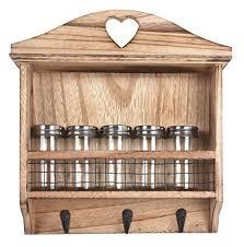 portaspezie in legno 2 in 1 scaffale da cucina per barattoli portaspezie ganci per