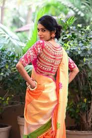 blouse for this saree blouse design the statement blouse goes perfectly