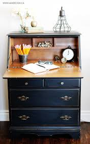painted secretary desk in fusion mineral paint u0027s coal black
