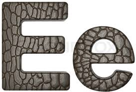 alligator skin font e lowercase and capital letters stock photo