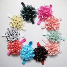 flowers for headbands 2017 wholesale newborn lace headbands dot chiffon flower silk