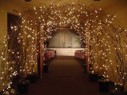 lighted tree branches it could be arches for wedding or winter arches