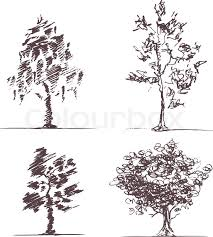 four hand drawn sketches of trees eps8 cmyk gradients free