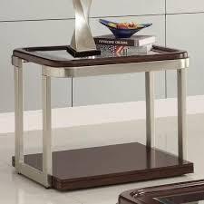 coaster company satin nickel coffee table coaster furniture 701997 end table cappuccino satin nickel