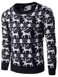 cardigans sweaters black l tree deer pattern knitted
