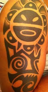 black taino sun on half sleeve