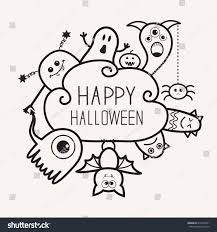 happy ghost clipart happy halloween contour outline doodle ghost stock vector