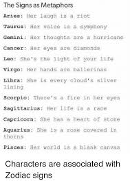 the signs as metaphors aries laugh is a riot taurus voice