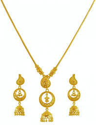 jewellery necklace earring sets images 22k gold necklace earring set ajns59963 traditional chand bali jpg