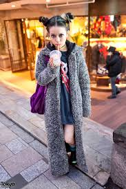 hirari ikeda in harajuku w long coat u0026 colorful double bun hairstyle