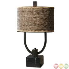 Black Table Lamps Lighting Exotic Rectangular Wood Rustic Table Lamp Design With