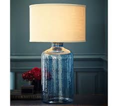 Small Blue Desk Lamp Clift Glass Table Lamp Base Light Blue Pottery Barn