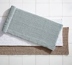 Square Bathroom Rug Textured Organic Bath Rug Wide Pottery Barn