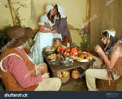 reenactment thanksgiving dinner plymouth stock photo