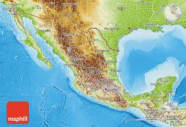 map of the mexico physical map of mexico