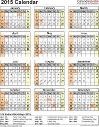 Small Desk Calendar 2015 2015 Calendar With Federal Holidays U0026 Excel Pdf Word Templates
