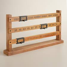 wood and metal sliding calendar perpetual calendar markers and