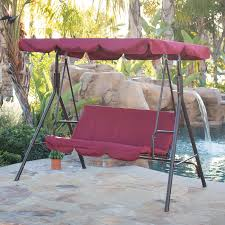 Outdoor Swing With Canopy 3 Person Patio Swing Canopy Tilt Awning Hammock Steel Furniture