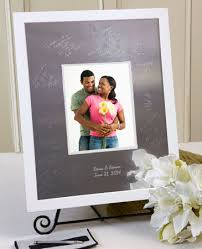 engravable wedding guest book modern block white signature frame signature keepsakes