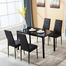 Black Glass Dining Table And 4 Chairs 4family 5 Pc Glass Dining Set Table With 4 Chairs Kitchen