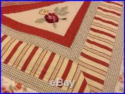 waverly norfolk vintage rose cotton quilt shabby chic king bedding