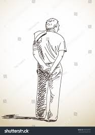 sketch old man back hand drawn stock vector 356552939 shutterstock