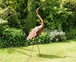 large heron stylized metal sculpture garden sculptures
