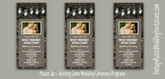 Mason Jar Wedding Programs Camo Wedding Programs Vintage Rustic Wedding Invitations