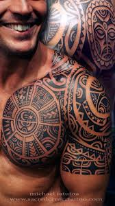 black tribal shoulder half chest for