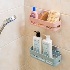 Decorative Wall Shelves For Bathroom Multifunctional Plastic Bathroom Shelf Adhesive Decorative Wall