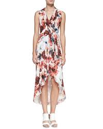 haute hippie floral print high low chiffon dress