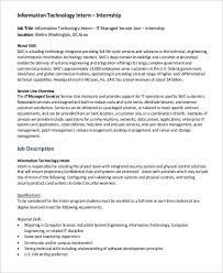 Information Desk Job Description It Intern Job Description Sample 9 Examples In Pdf