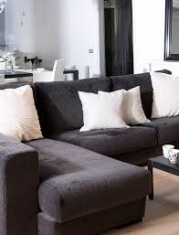 Black And White Sectional Sofa Small Loft Apartment Living Room With Black Sectional Sofa And