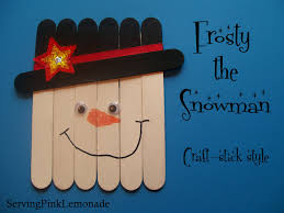 serving pink lemonade snowmen craft stick style