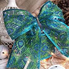peacock ribbon wired glitter peacock feather ribbon 63mm green blue christmas