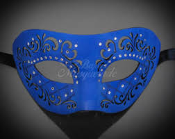 leather mardi gras masks blue leather mask etsy