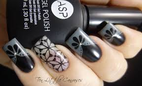black and grey french nail design by tenlittlecanvases on deviantart